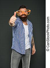 moda, beard., mente, brincalhão, hipster, partido., engraçado, só, extravagante, partido, desfrutando, desgastar, barbudo, glasses., sujeito, homem, himself., accessory., divertimento, entretendo, meu, óculos