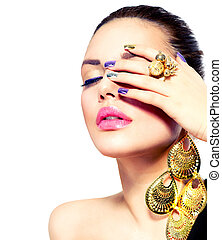 moda, beauty., manicura, y, make-up., clavo, arte