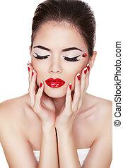 moda, beauty., manicure, e, make-up., prego, art., mulher bonita, com, coloridos, pregos, e, luxo, makeup., bonito, menina, tocar, dela, rosto