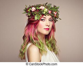 moda, beleza, coloridos, cabelo tingido, modelo, menina