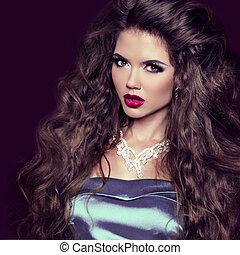 moda, beleza, girl., deslumbrante, mulher, portrait., fazer, cima., morena, rosto mulher, com, cabelo longo