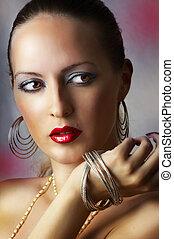 moda, beleza, make-up., excitado, menina