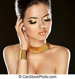 moda, beleza, menina, isolado, ligado, pretas, experiência., dourado, jóia