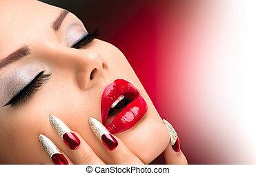 moda, beleza, modelo, girl., manicure, e, make-up., prego, arte