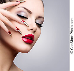 moda, beleza, modelo, girl., manicure, e, maquiagem
