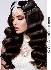 moda, beleza, modelo, menina, com, cacheados, hair., bride.