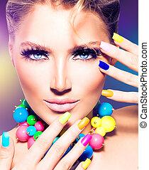 moda, beleza, modelo, menina, com, coloridos, pregos