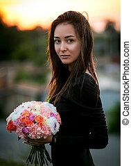 moda, beleza, modelo, menina, com, flores