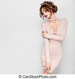 moda, beleza, modelo, menina, com, flores, hair., bride., perfeitos, criativo, compor, e, cabelo, style., hairstyle.