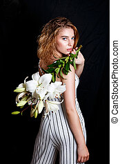 moda, beleza, modelo, menina, com, flores, hair., perfeitos, natural, compor, e, estilo cabelo