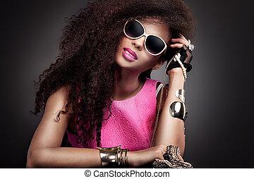 moda, beleza, retrato, de, jovem, woman.