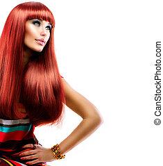 moda, beleza, saudável, direito, longo, cabelo, modelo, menina, vermelho