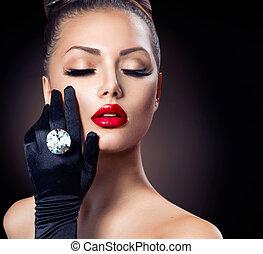 moda, beleza, sobre, glamour, pretas, retrato, menina
