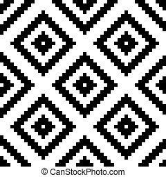 moda, beleza, vindima, tribal, étnico, pattern., seamless, ilustração, rhombus, zig, vetorial, pretas, listra, zag, branca, design., style., colors.