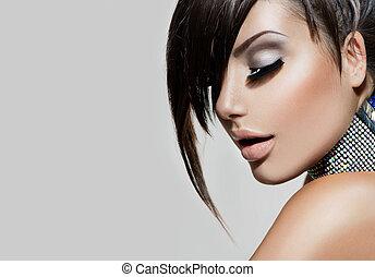 moda, belleza, girl., magnífico, retrato de mujer