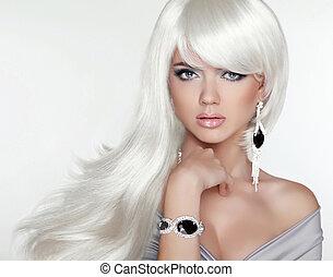 Moda, belleza, largo, retrato, atractivo, rubio, pelo, blanco, niña