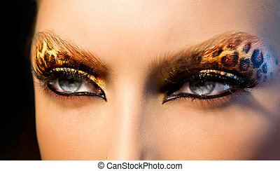 moda, belleza, maquillaje, leopardo, modelo, feriado, niña