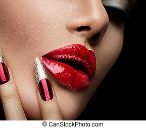 moda, belleza, modelo, girl., manicura, y, maquillaje