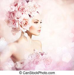 moda, belleza, modelo, niña, con, flores, hair., novia