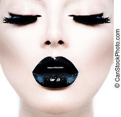 moda, belleza, modelo, niña, con, negro, componer, y, largo,...