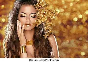 moda, belleza, niña, aislado, en, dorado, bokeh, luces, fondo., encanto, makeup., oro, jewelry., hairstyle.