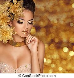moda, belleza, niña, retrato, con, flores, aislado, en, dorado, bokeh, luces, fondo., encanto, makeup., oro, jewelry., hairstyle., lujo, foto
