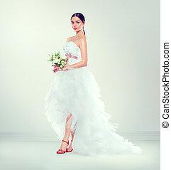moda, bellezza, giovane, lungo, sposa, treno, matrimonio, modello, vestire