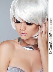 moda, bellezza, girl., corto, iso, biondo, hair., ritratto, woman., bianco