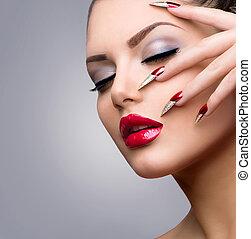 moda, bellezza, modello, girl., manicure, e, trucco