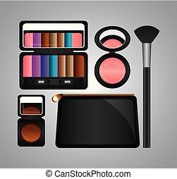 moda, bellezza, trucco, cosmetico, set, prodotti