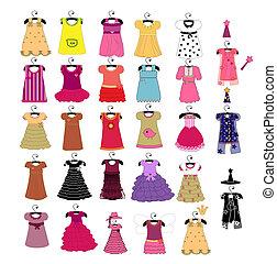moda, bello, vestiti, per, piccole ragazze
