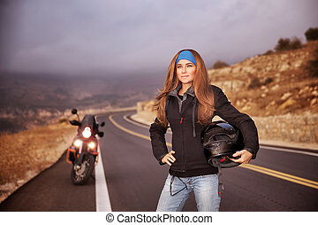 moda, biker, niña