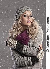 moda, biondo, inverno, ragazza