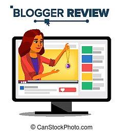 moda, blogger, revisão, blogger., channel., ilustração, recording., blog, viver, mulher, vídeo, flâmula, vector., online, popular, broadcast., concept.
