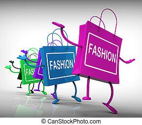 moda, bolsas, representar, tendencias, compras, y, diseños