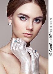 moda, bonito, jovem, retrato, mulher, jóia