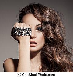 moda, bonito, retrato, mulher, jóia
