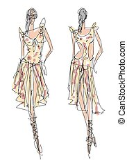 moda, bosquejo, ilustración