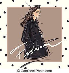 moda, bosquejo, niña, llevando, elegante, diseñador, chaqueta