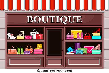 moda, boutique., vector, ilustración