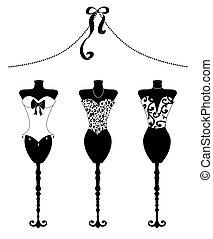 moda, bustiers, formulários, pretas, chique, vestido branco