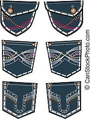 moda, calças brim, bolso traseiro, desenho, senhora