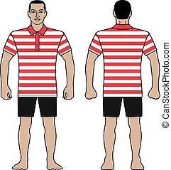 moda, camicia, figura, disegno configurazione, t, polo, strisce, uomo