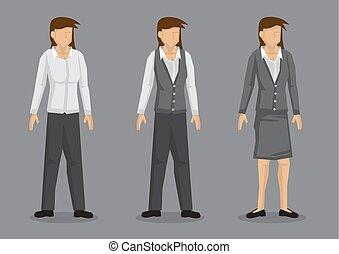 moda, carattere, illustrazione, vettore, workwear, donne