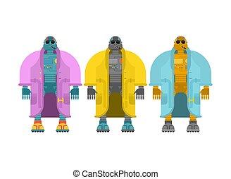 moda, chamarra, set., robot, ilustración, vector, cyborg, topcoat.