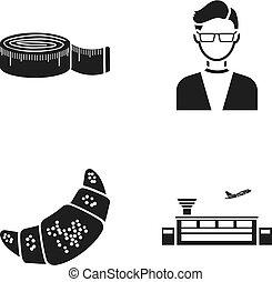 moda, cocina, y, o, tela, icono, en, negro, style.profession, transporte, iconos, en, conjunto, collection.