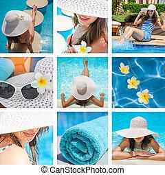 moda, collage, di, foto, su, il, tema, vacanza estate, spiaggia