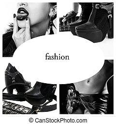 moda, collage, foto blanquinegra, de, moda, accesorios