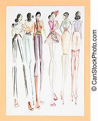 moda, collezione, donne