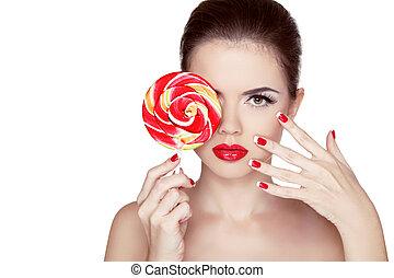 moda, colorito, bellezza, ritratto, lips., pelle, isolato, makeup., chiodo, ragazza, caldo, fondo, manicured, lollipop., polacco, bianco, care., presa a terra, rosso, nails.